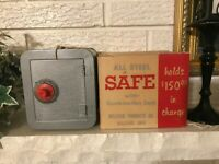 """Vintage Bellevue """"All Steel"""" Safe with a Real Comb lock  w Original Box, Tag"""