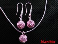 Shamballa Cristallo Rosa Disco Ball Argento Gioielli Set Orecchini & Collana