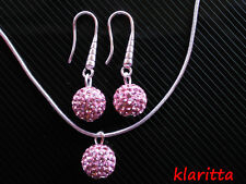 Shamballa Pink Crystal Disco Ball Jewellery Silver Set Earrings & Necklace CC72N