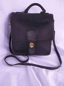 Authentic Vintage Coach Black Leather Front Flap Brass Turn Lock Clasp Handbag