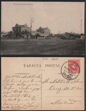 Tarjeta Postal. Huelva. Estación de Sevilla. Animada. Año 1909.