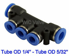 5pcs Pneumatic Manifold Union Push In Fitting Tube OD 1/4 To OD 5/32 One Touch