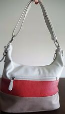 Giani Bernini Pebble Leather Hobo Handbag White Rose Mushroom MSRP $189