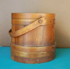 Vintage Shaker-style Wooden Bucket with Lid and Bent-wood Handle