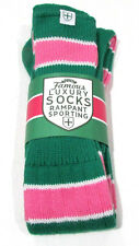 Rampant Sporting Ladies Classic Sports Socks Pink & Green Stripes Rugby / Hockey