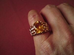 2005 QVC 9ct 375 Yellow Gold Five Carat Citrine Solitaire Cocktail Woven Ring