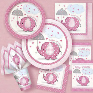 Baby Shower Party Elephant Girls Baby Party Deco Pink Party Items Set Birthday