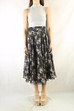 Vintage 70s Black Print Floral Floaty High Waist Skirt Size S