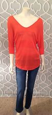 Express Dolman Sleeve Sweater Orange Mesh Insets 3/4 Sleeve S Small Nwt $49.90
