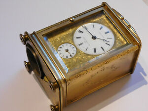 ANTIQUE QUARTER REPEATING REPEATER ALARM CARRIAGE CLOCK BY CHARLES OUDIN, PARIS