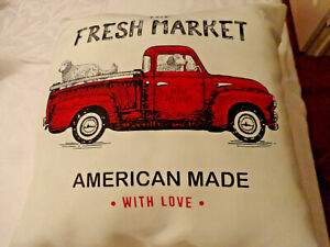 Red Truck & Dogs Fresh Market American Made Indoor Outdoor Farmhouse Pillow