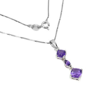 Unheated Cushion Amethyst 6mm White Gold Plate 925 Sterling Silver Necklace 18
