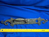 Antique 12x3 Large Heavy Cast Metal Bronze Door Knob Lock Plate Part Ornate