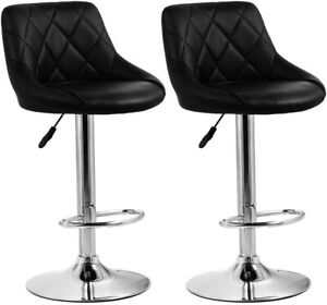 Bar Stool with Footrest and Backrest Adjustable Swivel Chair 2Pcs Faux Leather