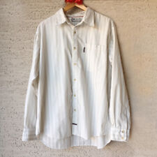 Mens Columbia Vertex XL White Striped Button Front Shirt Cotton Blend Gray Olive