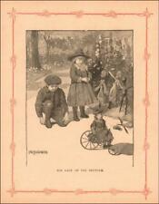 DOLL RIDING TOY TRICYCLE by Hirschberg, antique engraving original 1897