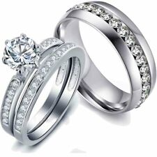 Couple Rings Stainless steel CZ Wedding Band White Gold Filled Women's Ring Sets