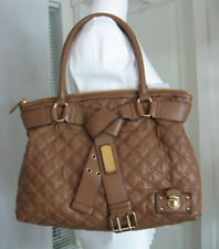 MARC JACOBS Alina Quilted Belt Leather Tote Bag Tan-Brown/Gold Logo AUTH. $1,295
