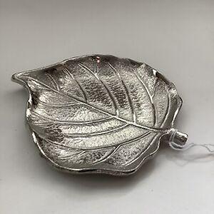Silver Aluminium Metal Leaf Trinket Dish Tray Pot Gift