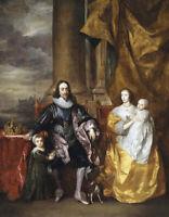 17.8x22.9cm Art Photo Imprimé King Charles I 1st,Henrietta Maria & Leur 2 Enfant