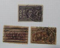 C5.Sellos USA, Stamped  Lote de 3 conmemorativos, 1492-1892 + 1904
