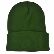 Olive Green Plain Blank Solid Cuffed Knit Beanie Toque Winter Thick Skully Cold