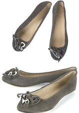 TOPSHOP GREY GENUINE SUEDE LEATHER HEART DETAIL PUMPS FLAT SHOES NEW