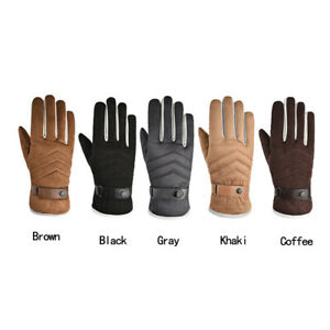 Men'S Gloves Faux Suede Plush and Thickened Warm Winter Outdoor Riding Windproof