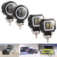 "3"" White LED Spot Driving Fog Lamps Angel Eyes Work Light Bar Pods Offroad Car"