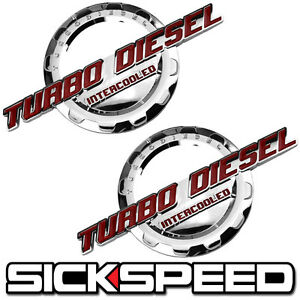 2 PC RED/CHROME TURBO DIESEL ENGINE MOTOR BADGE FOR TRUNK HOOD DOOR TAILGATE B