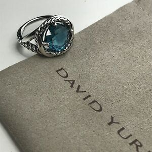 David Yurman 925 Silver Infinity 11mm Hampton Blue Topaz Ring Size 9