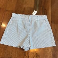 NWT Women's J Crew Shorts Blue White Seersucker Stripes Ruffles Sz 6 $54