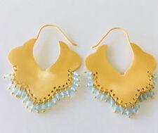 18K Gold on 925 Sterling Silver Gemstone Earrings Hoop Ethnic Tribal Aquamarine
