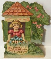 Vtg Antique 1927 Embossed Valentines Day Card Pretty Girl in Window Fair Flowers