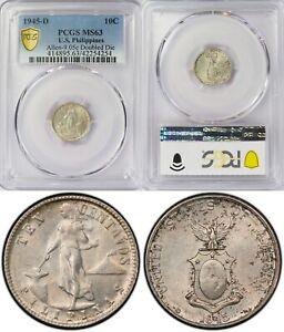 1945-D US/Philippines 10 Centavos ~ DOUBLED DIE ~ PCGS MS63 ~ Allen#9.05c ~ 4254