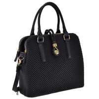 New Womens Handbags Faux Woven Leather Satchel Purse Briefcase Tote Shoulder Bag