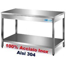 Tavolo In Acciaio Inox cm 180x60x85/90h Banco Cucina Professionale Ristorante