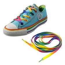 2 Pairs Flat Rainbow Shoe Laces Long Color Shoelaces Bootlaces 8MM Wide Durable