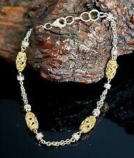 "14K Yellow & White Gold 1.00 CTW Diamond 7""-8"" Adjustable Filigree Bead Bracelet"