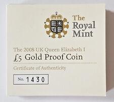 2008 £ 5 ORO PROOF Cinque sterline Regina Elisabetta I COA solo