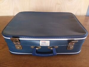 Cheney Vintage Suitcase British Airways  Small Blue 1960s 60s Hard Shell BEA
