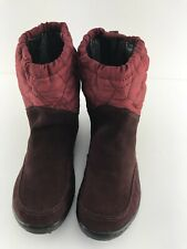 EUC Womens Columbia Red Waterproof Suede Quilted Top Snow Boot Size 6.5/37.5