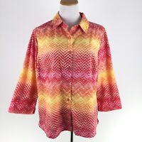 STUDIO WORKS womens 1X plus size colorful print 3/4 sleeve career blouse shirt