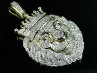 14K Yellow Gold Over 2.96Ct Round Cut Diamond Men's Iced Lion Face Charm Pendant