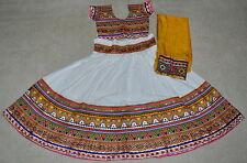 Designer Navaratri Chaniya choli Lahenga Garba Dance costume White / Yellow L