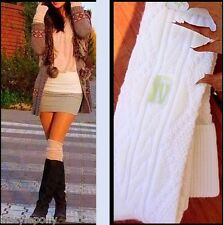 Over the Knee Thigh High Socks Cable Knit OTK Cream Ivory Wool Blend NEW