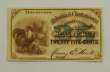 1860s Alabama & Chattanooga Railroad Co - 25¢ Meal Ticket Scrip Note - Scarce!