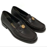 SALVATORE FERRAGAMO Sport Womens Chocolate Brown Coin Loafers Shoes - Size 6 B