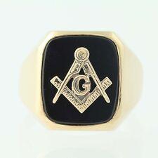 Master Mason Blue Lodge Ring - 10k Yellow Gold Onyx Masonic