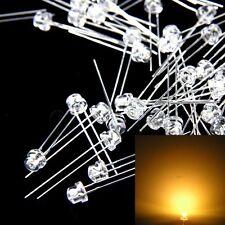 100 pcs 5mm Straw hat Warm White LED Wide Angle Light lamp Free Shipping New